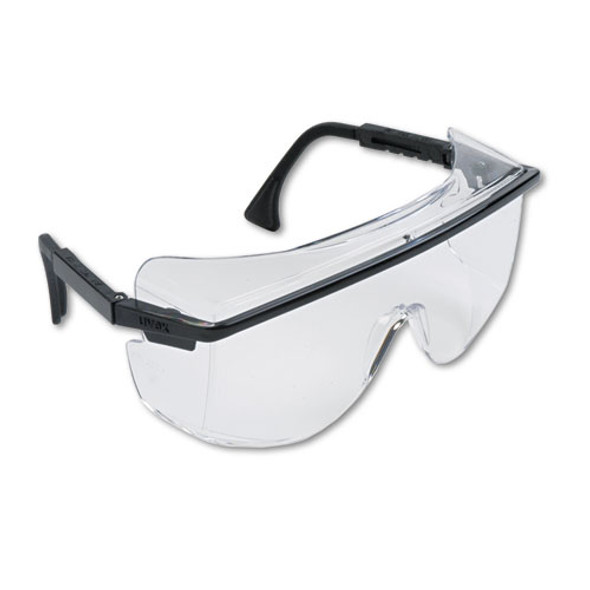Astro Otg 3001 Wraparound Safety Glasses, Black Plastic Frame, Clear Lens