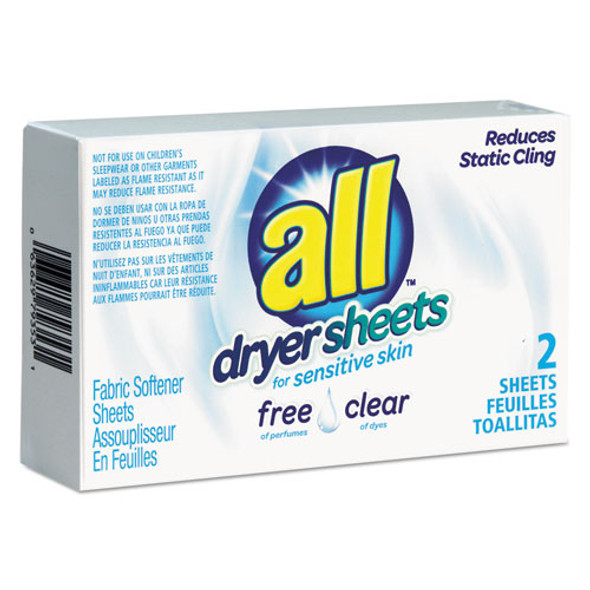 Free Clear Vend Pack Dryer Sheets, Fragrance Free, 2 Sheets/box, 100 Box/carton