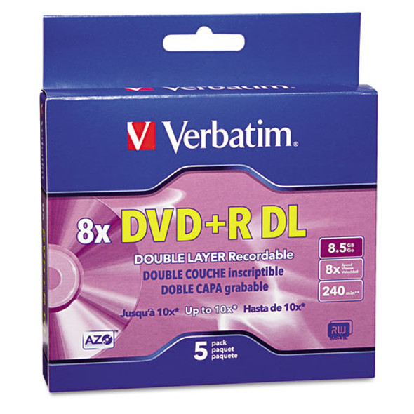 Dual-layer Dvd+r Discs, 8.5gb, 8x, W/jewel Cases, 5/pack, Silver
