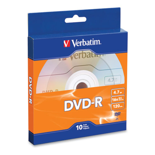 Dvd-r Recordable Disc, 4.7gb, 16x, Silver, 10/pack