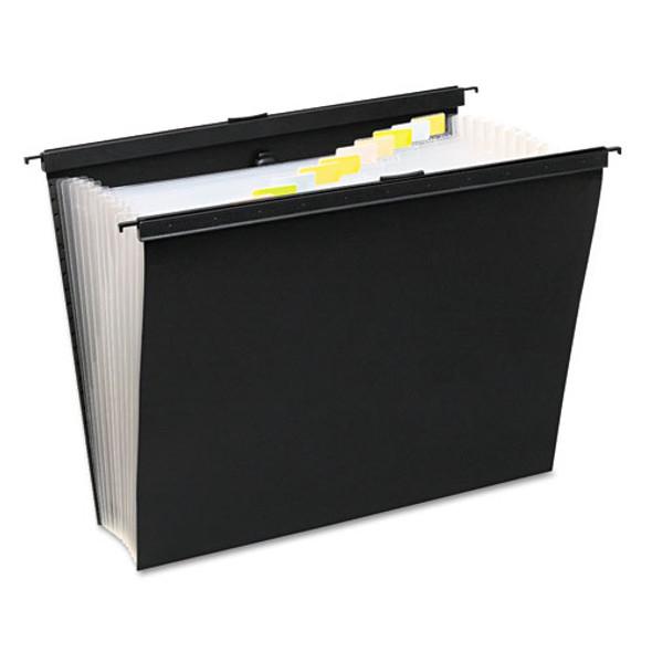 Slide-bar Expanding Pocket File, Letter Size, 12 Dividers, Black