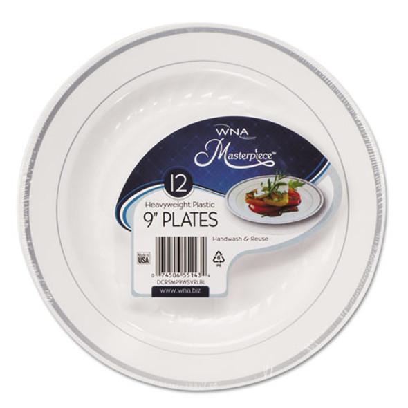 Masterpiece Plastic Plates, 9 In, White W/silver Accents, Round, 120/carton