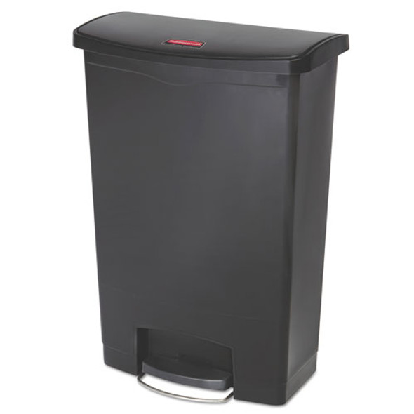 Slim Jim Resin Step-on Container, Front Step Style, 24 Gal, Black