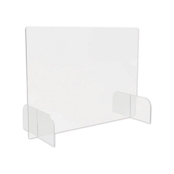 """Counter Top Barrier With Full Shield And Feet, 31"""" X 14"""" X 23"""", Acrylic, Clear, 2/carton"""
