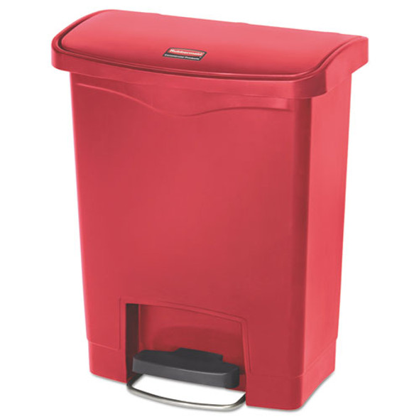 Slim Jim Resin Step-on Container, Front Step Style, 8 Gal, Red