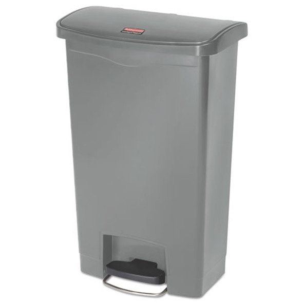 Slim Jim Resin Step-on Container, Front Step Style, 13 Gal, Gray