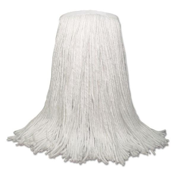 "Banded Rayon Cut-end Mop Heads, White, 20 Oz, 1 1/4"" Headband, White, 12/carton"