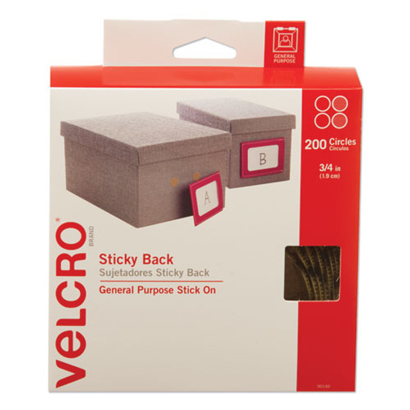 """Sticky-back Fasteners With Dispenser Box, Removable Adhesive, 0.75"""" Dia, Beige, 200/roll"""