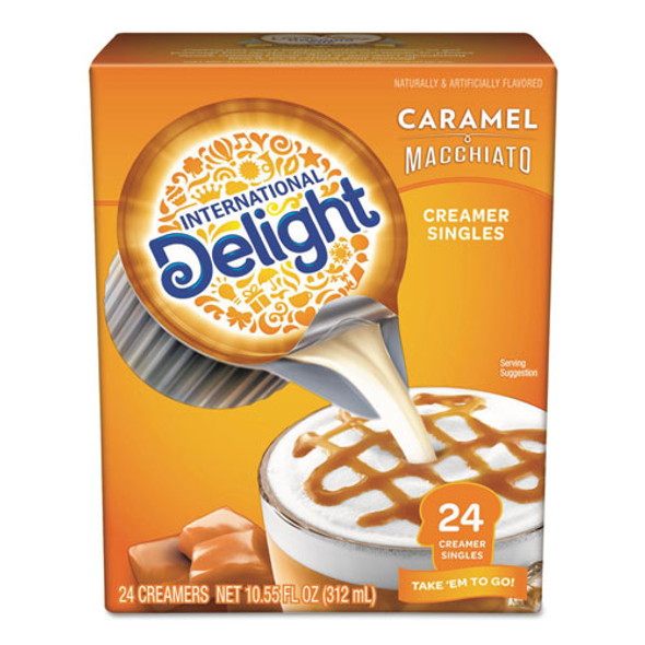 Flavored Liquid Non-dairy Coffee Creamer, Caramel Macchiato, Mini Cups, 24/box