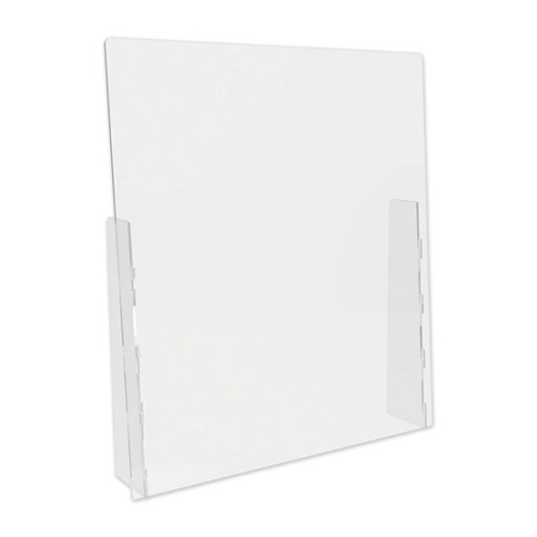 """Counter Top Barrier With Full Shield, 31.75"""" X 6"""" X 36"""", Acrylic, Clear, 2/carton"""