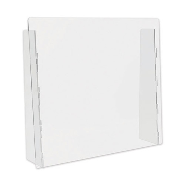 """Counter Top Barrier With Full Shield, 27"""" X 6"""" X 23.75"""", Acrylic, Clear, 2/carton"""