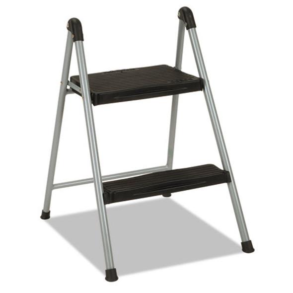 "Folding Step Stool, 2-step, 200 Lb Capacity, 16.9"" Working Height, Platinum/black"