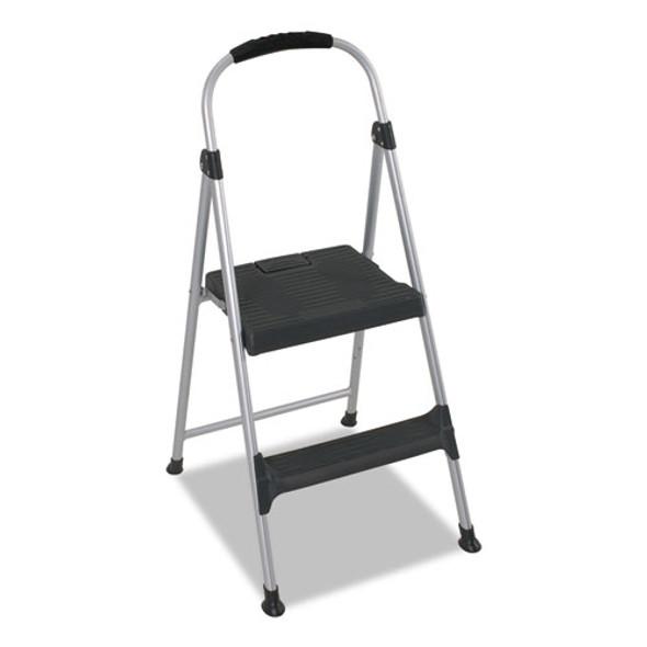 "Aluminum Step Stool, 2-step, 225 Lb Capacity, 18.9"" Working Height, Platinum/black"