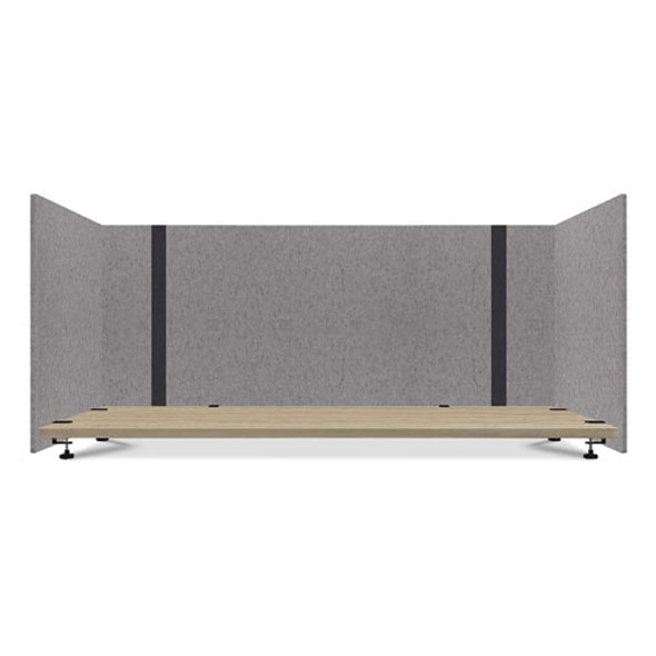 Adjustable Desk Screen With Returns, 48 To 78 X 29 X 26.5, Polyester, Gray