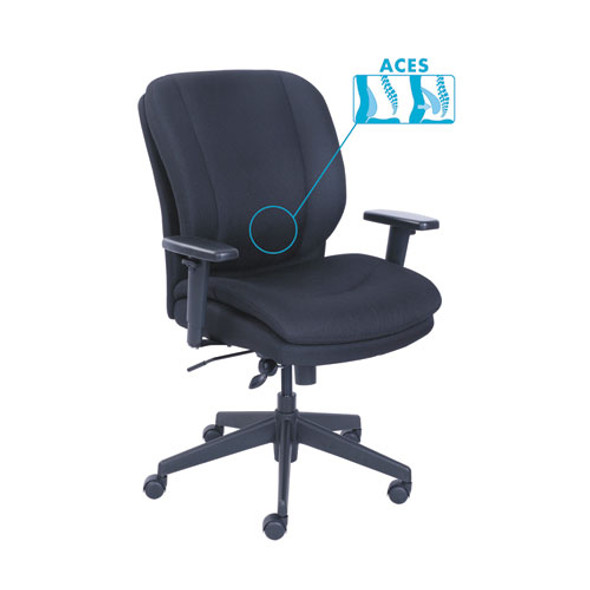 Cosset Ergonomic Task Chair, Supports Up To 275 Lbs., Black Seat/black Back, Black Base