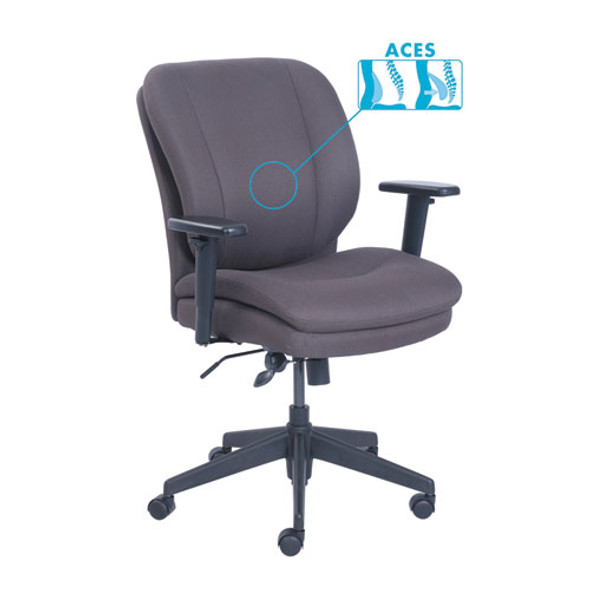 Cosset Ergonomic Task Chair, Supports Up To 275 Lbs., Gray Seat/gray Back, Black Base
