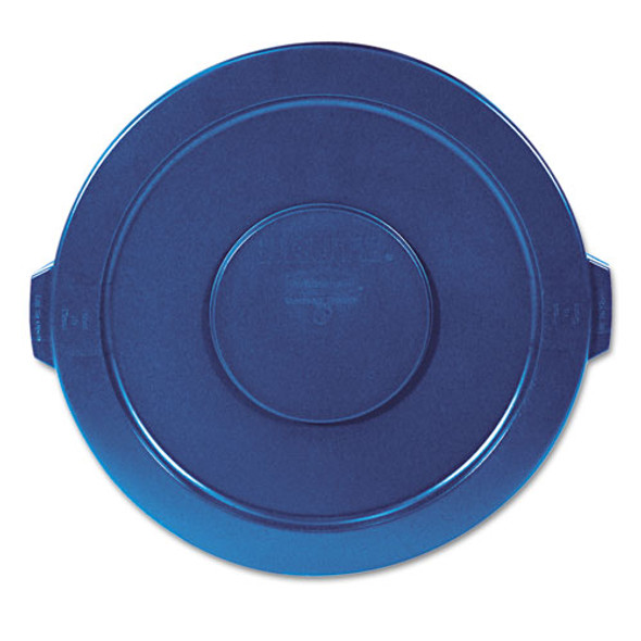 """Round Flat Top Lid, For 32 Gal Round Brute Containers, 22.25"""" Diameter, Blue"""