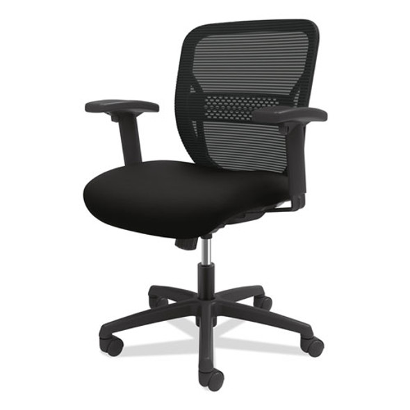 Gateway Mid-back Task Chair With Adjustable Arms, Supports Up To 250 Lbs, Black Seat, Black Back, Black Base