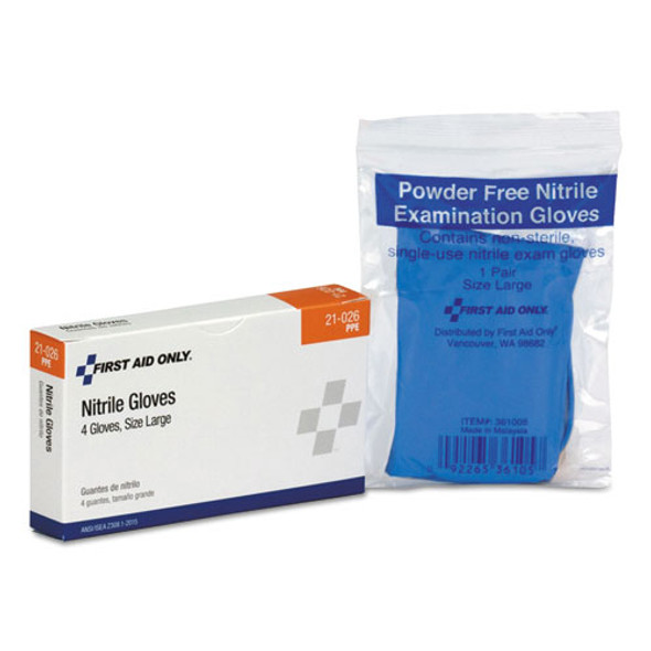 Ansi Compliant First Aid Kit Refill For 16 Unit First Aid Kit, (4) Exam Gloves