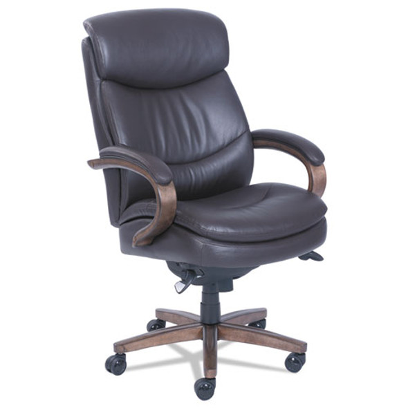 Woodbury High-back Executive Chair, Supports Up To 300 Lbs., Brown Seat/brown Back, Weathered Sand Base