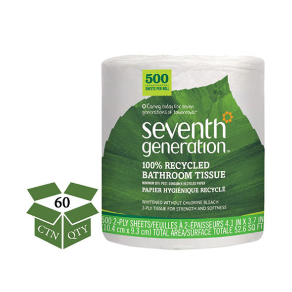 100% Recycled Bathroom Tissue, Septic Safe, 2-ply, White, 500 Sheets/jumbo Roll, 60/carton