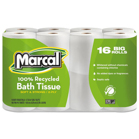 100% Recycled Two-ply Bath Tissue, Septic Safe, 2-ply, White, 168 Sheets/roll, 16 Rolls/pack
