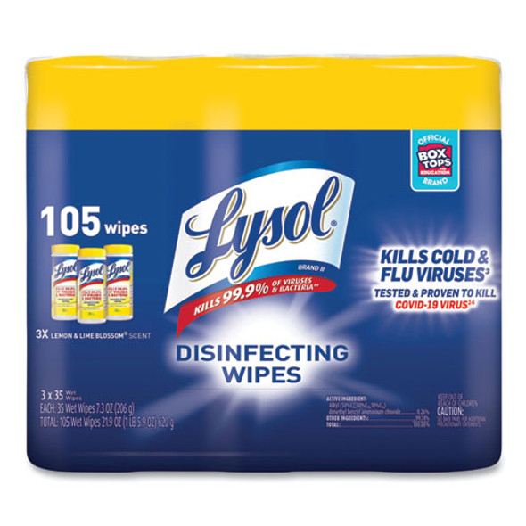 Disinfecting Wipes, 7 X 7.25, Lemon And Lime Blossom, 35 Wipes/canister, 3 Canisters/pack