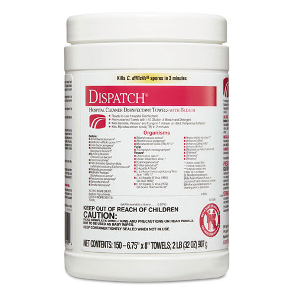Dispatch Cleaner Disinfectant Towels, 6 3/4 X 8, 150/can