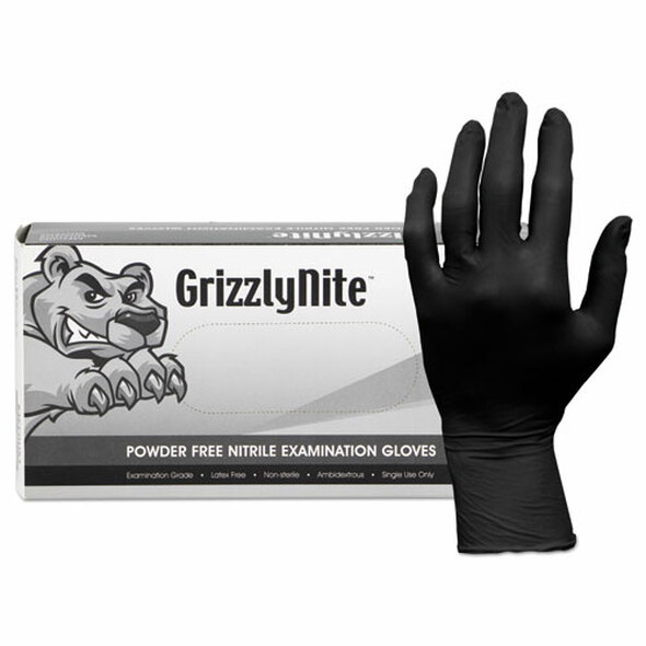 Proworks Grizzlynite Nitrile Gloves, Black, X-large, 1000/ct