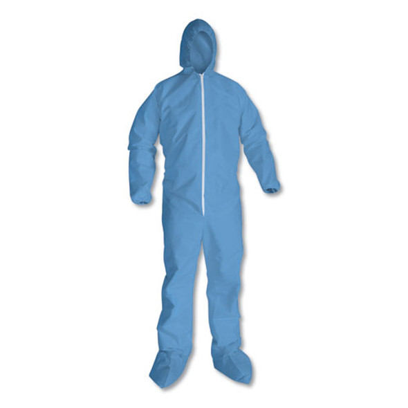 A65 Zipper Front Hood And Boot Flame-resistant Coveralls, Elastic Wrist And Ankles, Blue, X-large, 25/carton