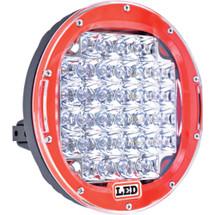 """J&N Driving Light, 12/24V, LED, 8,000 Lumens, White, 9"""", Spot, Red Housing"""