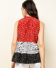 TIERED MIXED PRINT TOP
