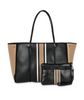GREYSON TOTE IN BOSS - Black coated center white/blk/camel stripe/camel coated sides