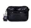 DREW CROSSBODY IN NOIR -Black patent puffer / gray camo strap