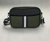 DREW CROSSBODY IN RESERVE -olive neoprene bag with Black/army/ black white strip