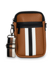 CASEY BAG IN PARIS -Camel with black and white stripe. Matching stripe strap.