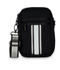 CASEY BAG IN CHIC - Black denim with silver black white black silver stripe.  Matching stripe strap