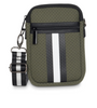 CASEY BAG IN RESERVE -Olive Green with black and white strap. Matching stripe strap.