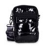 CASEY BAG IN NOIR -Black Shiny Puffer. Matching Camo strap.