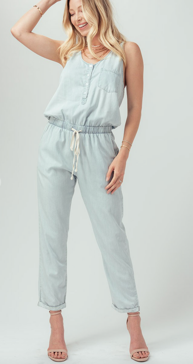 CHAMBRAY BUTTON FRONT JUMPSUIT