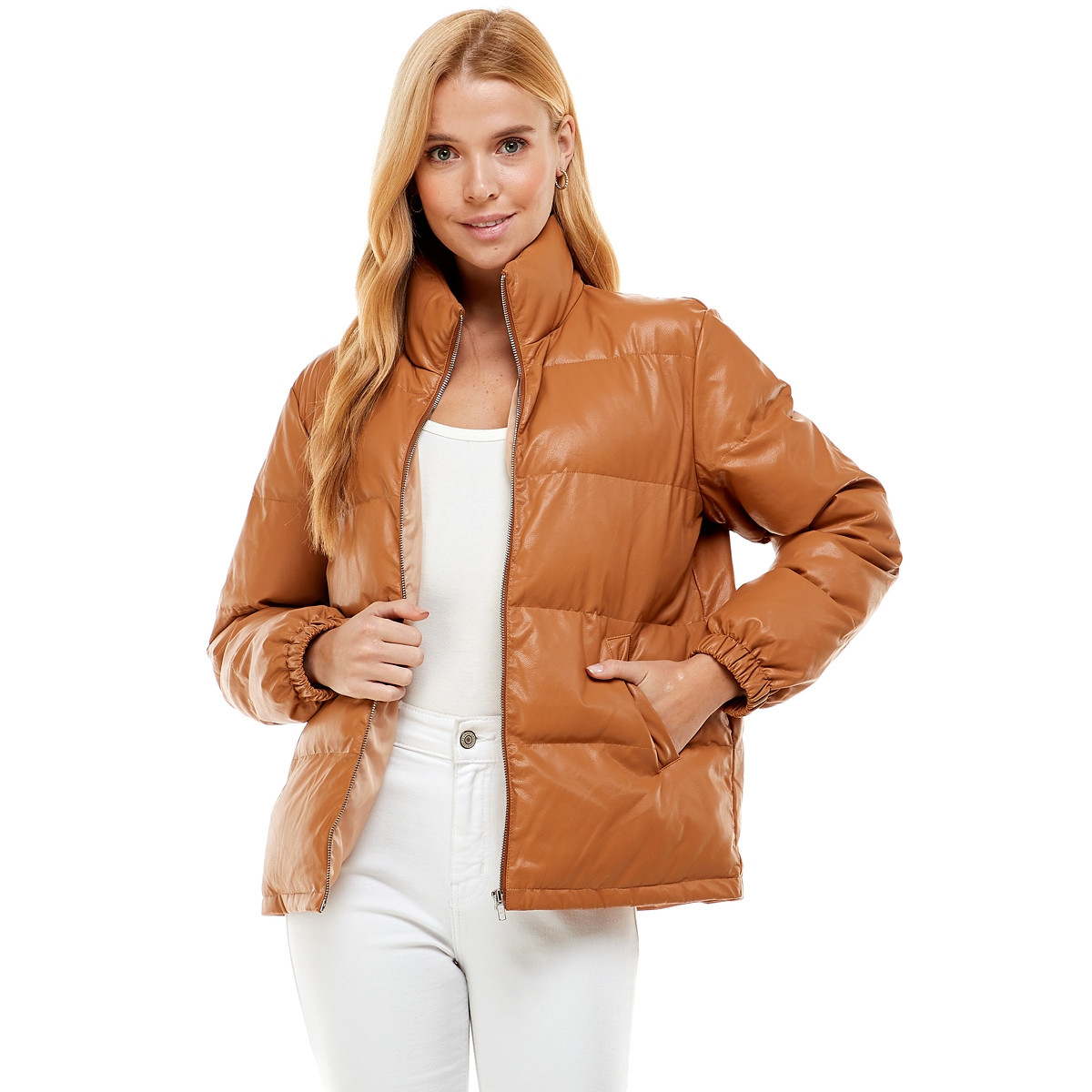 FAUX LEATHER PUFF JACKET