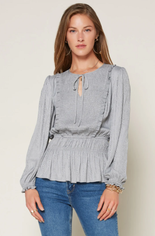 L/S TOP W/SMOCK FRONT AND ELASTIC WAIST