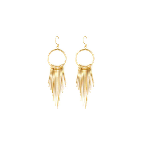 GOLD FEATHER DANGLE EARRING