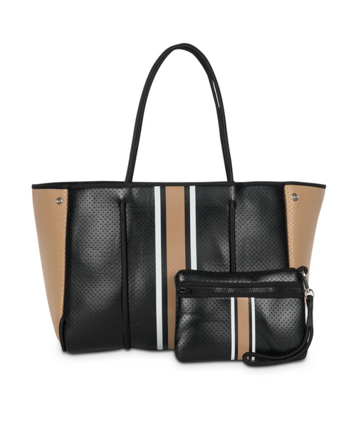 GRAYSON TOTE IN BOSS - Black coated center white/blk/camel stripe/camel coated sides
