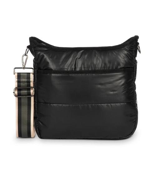 PERRI IN MATTE - black matte puffer. Solid black and rose gold charcoal black stripe straps
