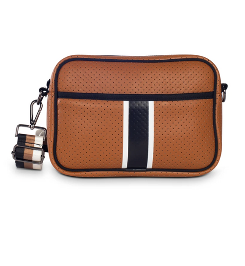 DREW CROSSBODY IN PARIS - brown coated perforated neoprene with white/black stripe and black/brown/white strap
