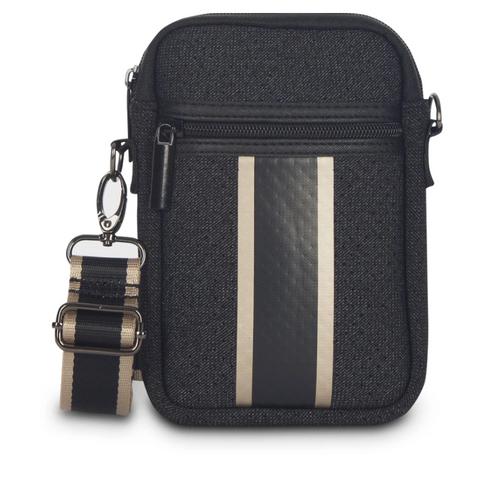 CASEY BAG IN CHIC -Black denim with platinum stripe/ black/platinum stripe. Matching stripe strap.