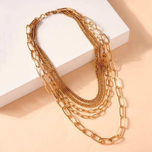 MULTI LAYERED CHAIN LINKED NECKLACE