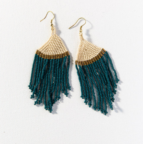 PEACOCK IVORY WITH GOLD STRIPE FRINGE EARRING