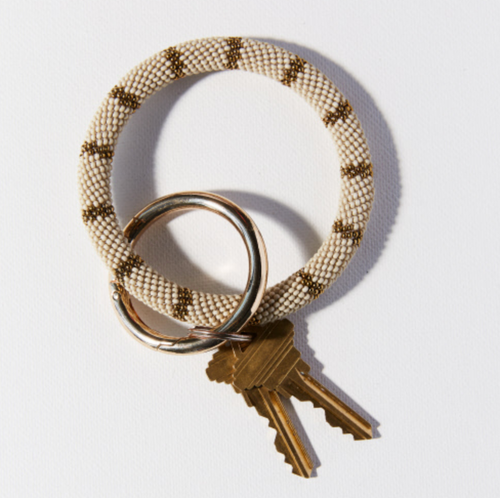 IVORY GOLD SEED BEAD KEY RING